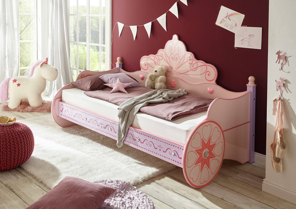 Kinderbett PRINCESS Pink Glanz lackiert